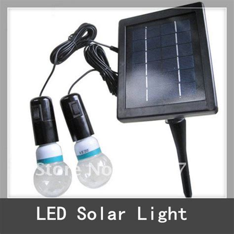 solar power led lighting system 2 x bulb 20 white led
