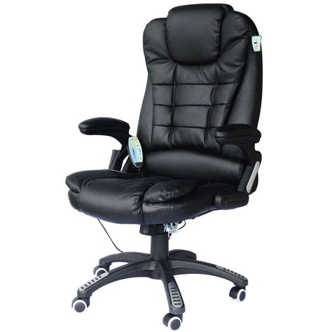 chaise de bureau en cuir fauteuil de bureau cuir noir massant et chauffant ebay