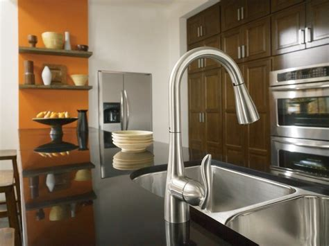 moen srs arbor  handle high arc pulldown kitchen faucet featuring reflex spot resist