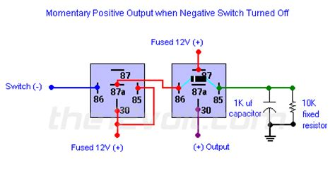 Neg Relay Switch Wiring Diagram by Momentary Positive Output When Negative Switch Turned