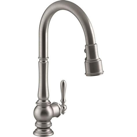 moen single handle pullout kitchen faucet kohler k 99259 vs artifacts vibrant stainless steel