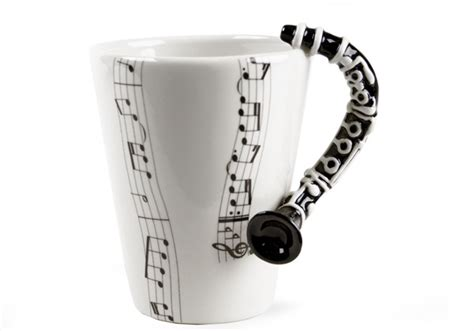 Unique coffee mugs, custom drinkware, coordinating tshirt and mug collections. Clarinet Handmade 8oz Coffee Mug by Blue Witch | CentralCrafts ® Est 1999