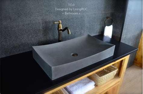 "27"" Stone Vessel Sink Gray Natural Bathroom Basalt Stone Toji"