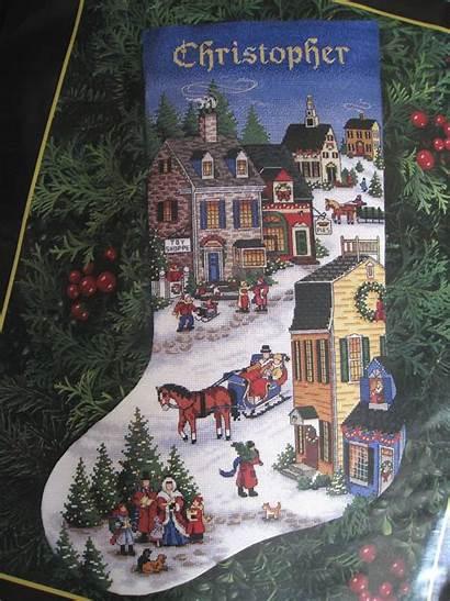 Christmas Stocking Dimensions Gold Village Kit Scene