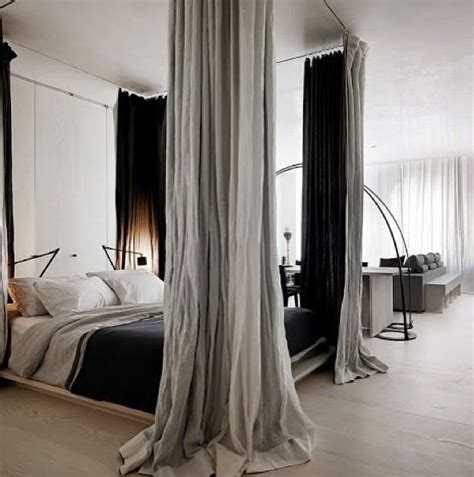 four poster bed using curtain rods and curtains