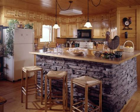 kitchen rock island pictures of accents used in log homes times