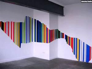 Wand Farbig Streichen Ideen : asymetrische streifen wand streichen ideen youtube ~ Lizthompson.info Haus und Dekorationen