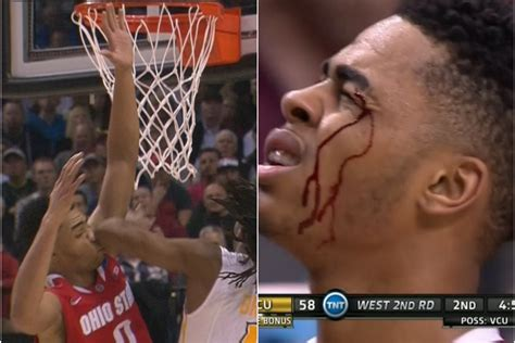 ohio states dangelo russell takes elbow   face