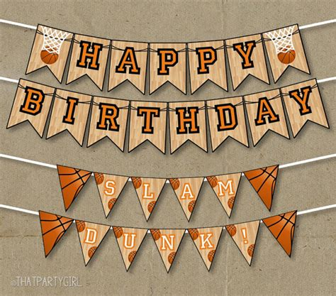 Happy Birthday Decorations Printable by Basketball Party Happy Birthday Banners Decorations