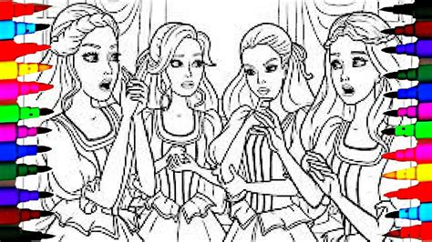 coloring pages barbie   friends coloring book   children learning colors youtube