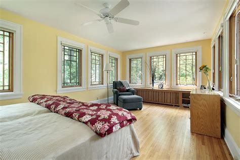 bright yellow master bedroom stock image image  carpet