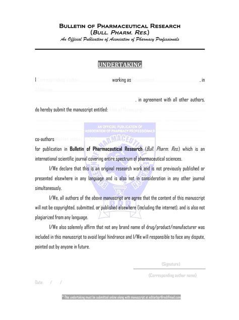 undertaking form association  pharmacy professionals