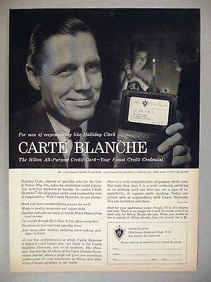 This historic document was printed by american bank note company and and has an ornate border around it with a vignette of a women hold a globe with beautifully engraved specimen certificate from carte blanche corporation printed in 1968. Carte Blanche Credit Card PRINT AD - 1959 ~~ Halliday ...
