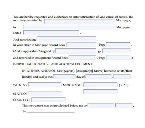 sample satisfaction  mortgage forms   ms word