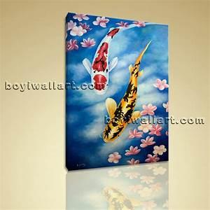 Large Giclee Prints On Canvas Feng Shui Zen Wall Art Koi