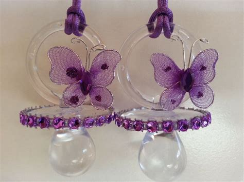butterfly baby shower favors 12 purple butterfly pacifier necklaces baby shower