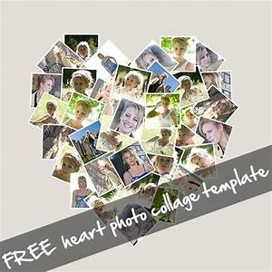 free online photo collage templates - free heart shaped photo collage template for photoshop ps