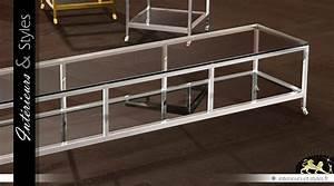 Table Basse Longue : longue table basse design en verre et m tal argent 190 cm ~ Teatrodelosmanantiales.com Idées de Décoration