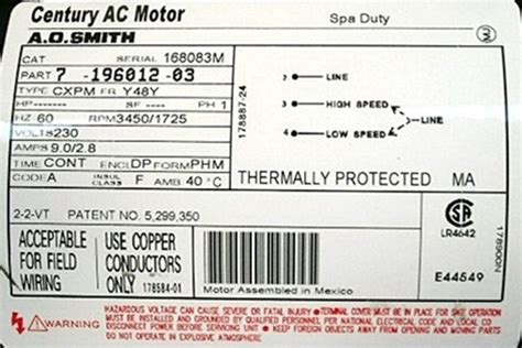 Ao Smith Ac Motor Wiring by Puulc2102582f Spa Mp 100 Marquis Mp100 630 6073