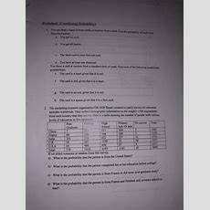 Solved Worksheet (conditional Probability) You Are Dealt Cheggcom