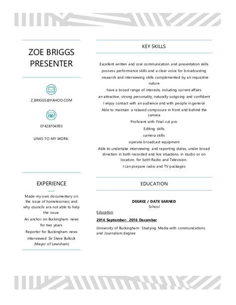 Radio Presenter Resume by Zoe Briggs Presenter Cv