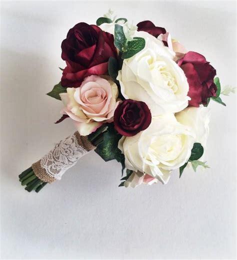 marsala burgundy ivory silk bridal bouquet roses