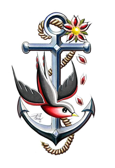 Swallow and Anchor Tattoo Design
