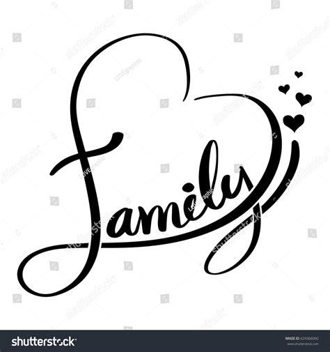 Family Lettering Heart Shaped Vector Illustration Stock
