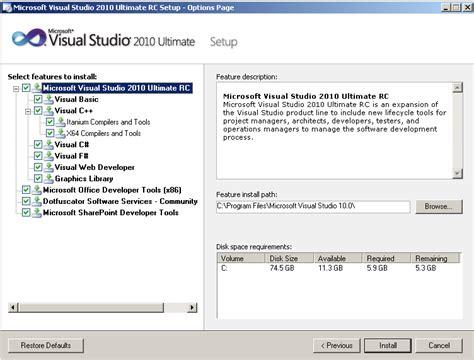 Resume Visual Studio Installation by Microsoft Visual Studio 2010 Installation Vs2010 Rc