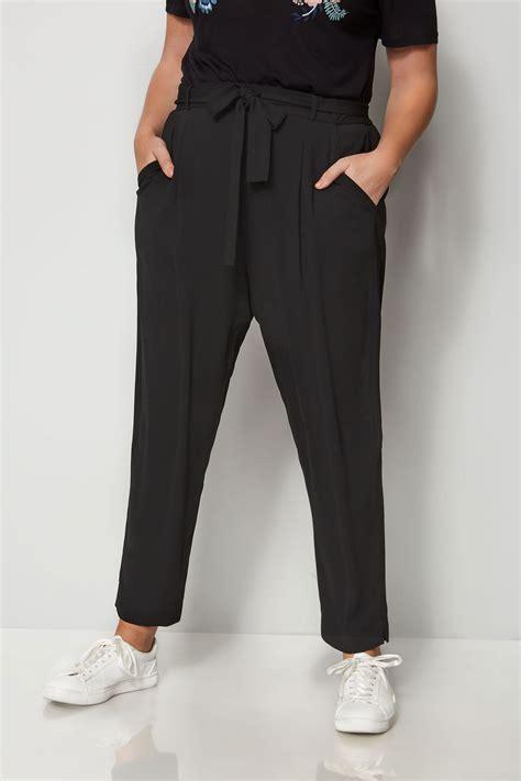 pantalon noir en cr 234 pe avec ceinture grande taille 44 224 64