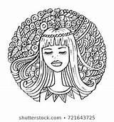 Shutterstock Turban Woman Animation Portrait Stockvector Rechtenvrij African Young Voor Afkomstig sketch template