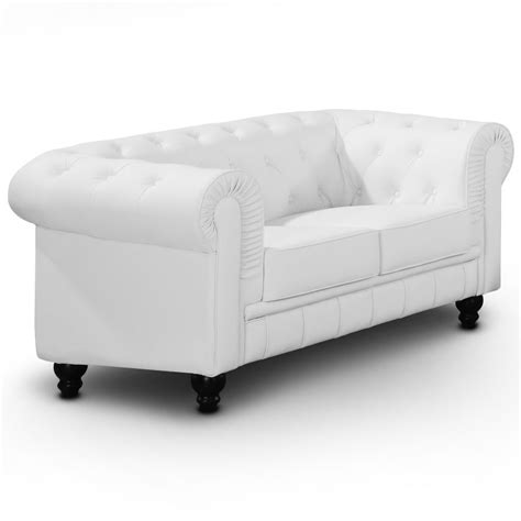 canapé promo canapé chesterfield 2 places regency blanc canapés