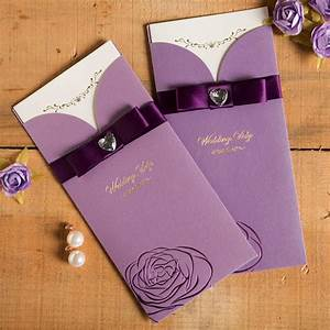 50pcs pack new elegant purple red crystal ribbon wedding With wedding invitation packs 50