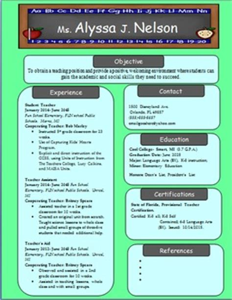 resume highlights for teachers revised elementary resume by fearless in 5th tpt