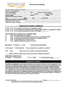 patient intake form spanish advanced hearing group