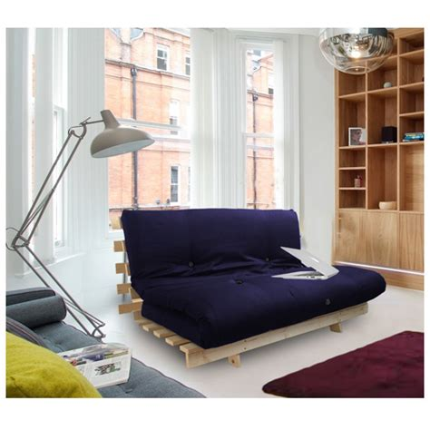 Wooden Frame Sofa Bed navy blue studio futon wooden frame sofa bed thick