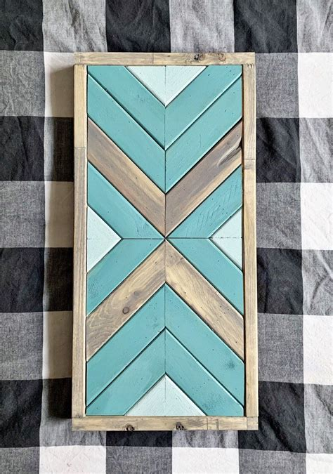 The calm color will make you sleep cozier. Teal & Grey Geometric Wood Wall Art // Wooden Sign // Wood Home Decor in 2020   Wood wall art ...