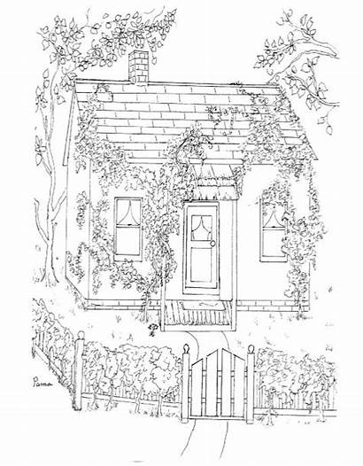 Coloring Pages Cottage Adult Colouring Rooms Printable