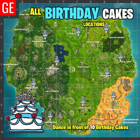 Fortnite All Locations Map Dance At Different Birthday