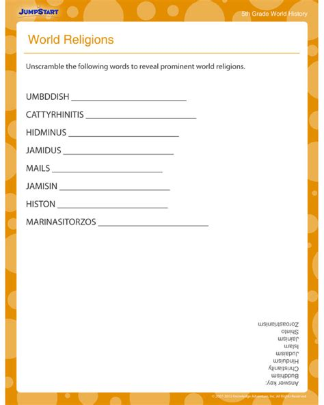 World Religions View Free World History Printable