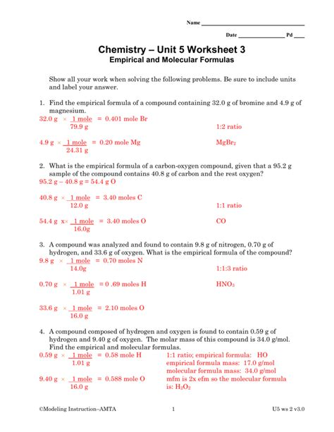 chemistry unit 5 worksheet 3 empirical and molecular
