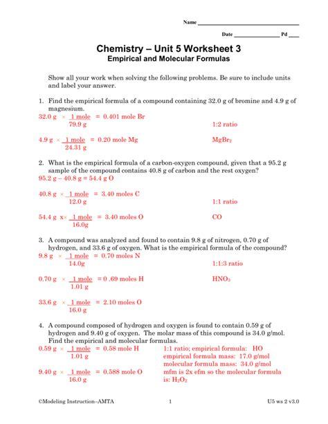 chemistry unit 5 worksheet 2 answer key worksheets for