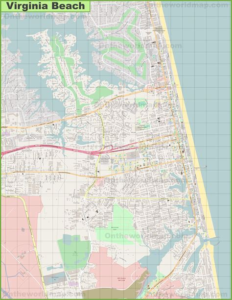 large detailed map  virginia beach