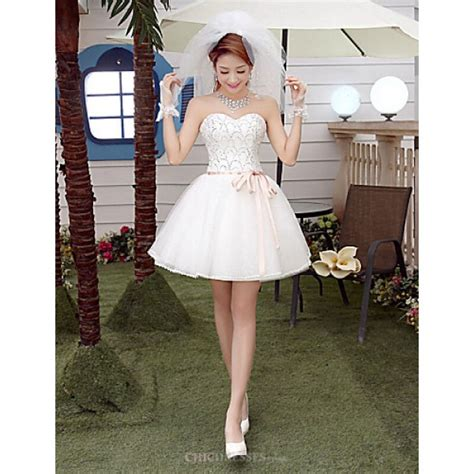 shortmini wedding dress sweetheart tullecheap