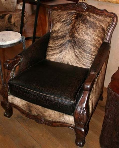 Rustic Cowhide Furniture by Pretty Brindle Cowhide And Leather Chair Cowhide