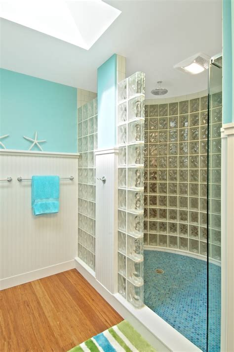 What Are Shower Walls Made Of - custom glass block shower with and curved walls