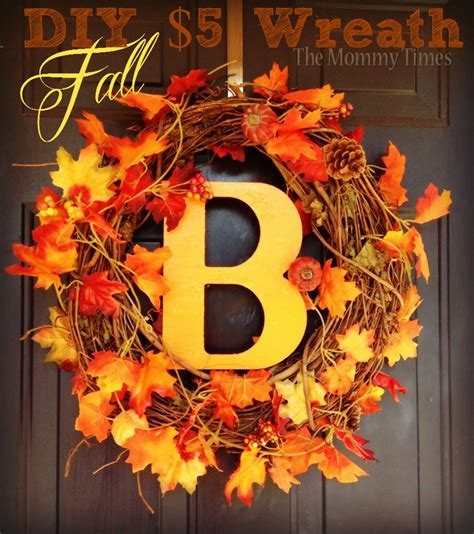 $5 Diy Fall Wreath #autumn #pumpkin #leaves #fall #dollarcrafts  The Mommy Times