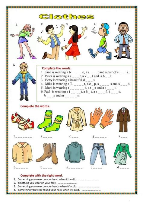 clothes  images clothes worksheet elementary
