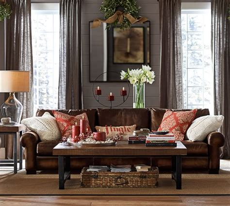 Pottery Barn Turner Sofa Look Alike by Turner Leather Roll Arm Sofa Pottery Barn Grey Walls And