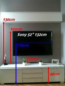 Meuble Tv Accroché Au Mur : pour passer les c bles dans le mur j 39 ai fait des trous en haut et en bas avec une scie cloche ~ Preciouscoupons.com Idées de Décoration